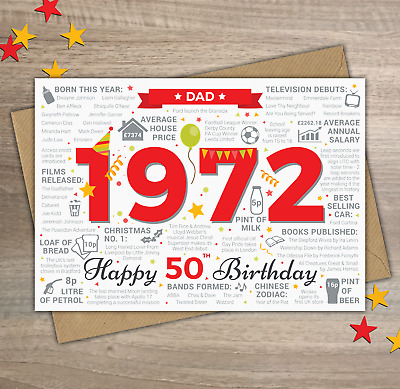 1970 DAD Happy 50th Birthday Memories / Birth Year Facts Greetings Card Red