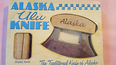 ALASKAN ULU KNIFE & STAND with Etched Alaska Map in Blade