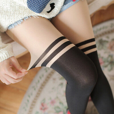 Sexy Women Nude Top Temptation Sheer Mock Suspender Tights Pantyhose Stockings—H