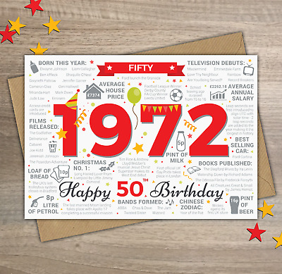 1969 MALE MENS Happy 50th Birthday Birth Year Facts Greetings Card Memories Red