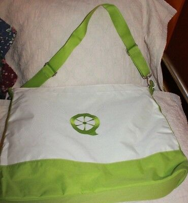 Creative Memories White & Green shoulder tote w/ outside  pocket NEW  logo
