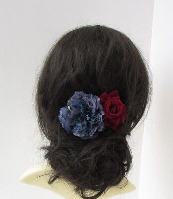 Navy Dark Blue Burgundy Red Rose Flower Hair Comb Fascinator Floral Bridal 6687