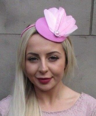 Candyfloss Baby Light Pink Silver Feather Pillbox Hat Fascinator Races Hair 6690