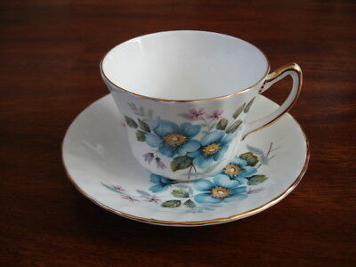 Vintage Delphine Fine Bone China Tea Cup and Saucer Made in England