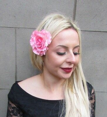 Large Peach Pink Dahlia Flower Hair Clip Rose Fascinator Bridesmaid Floral 5293
