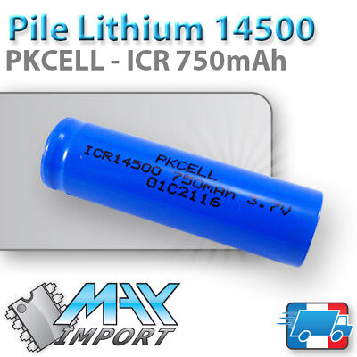 Pile Lithium ICR 14500 - 3.7V - 750 mAh PKCELL - Li-ion Rechargeable