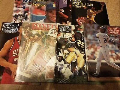 Lot of 8 Vintage Beckett Baseball Basketball Football Card Price Guide Magazine