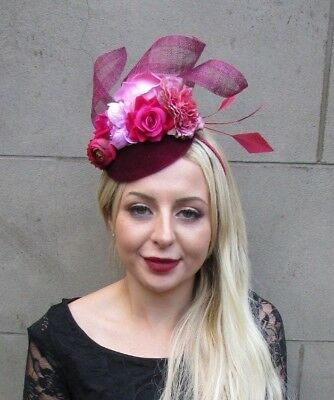 Burgundy Light Hot Pink Velvet Flower Feather Hat Hair Fascinator Floral 6700