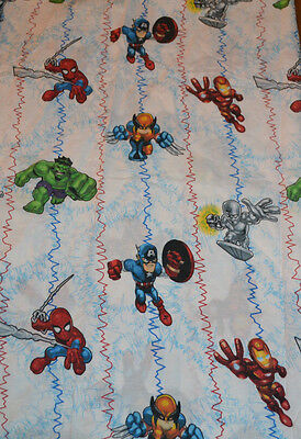 """Marvel Super Hero Twin Flat Sheet Craft Fabric Pre-Owned 60/40 Blend 66"""" X 96"""""""