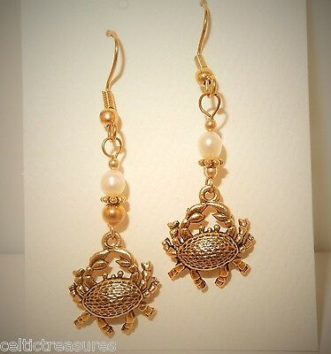 3D Gold Crab earrings with freshwater pearls Cancer zodiac
