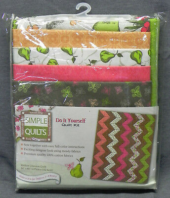 "Simple Quilts ""Mellow Chevron Quilt"" Do-It-Yourself Kit, 50""x60"", Cotton, New"