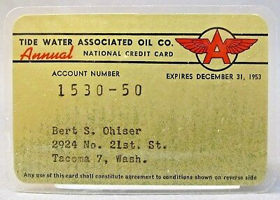 1953 TIDEWATER OIL FLYING A gasoline credit card