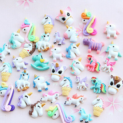 US 15~100 Pc Slime Bread Candy Unicorn Resin Flat Back Scrapbooking Charms DIY