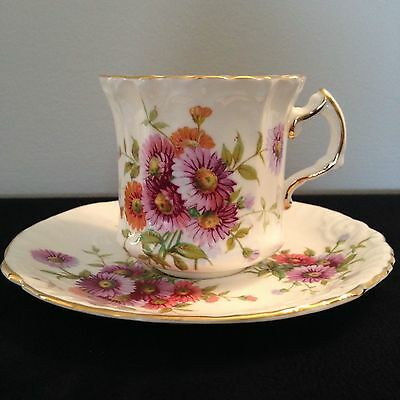 Hammersley & Co. pink CHRYSANTHEMUM bone china Tea  Cup & Saucer 1930'S-40'S