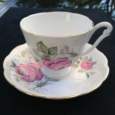 Queen Anne pink/grey roses teacup and saucer REDUCED SHIPPING