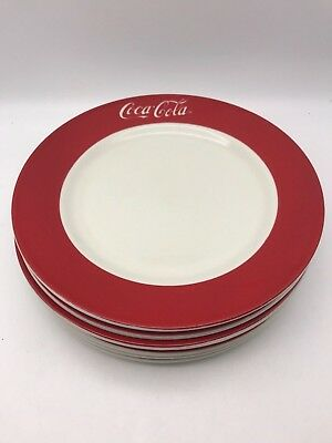 "6 Coca Cola 10-1/2"" Dinner Plate 1997 Gibson Red Border White Lettering #18-273"