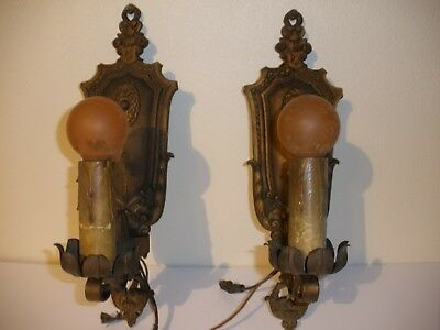 Vintage Pair of  Cast Iron Wall Sconces Light Fixtures gold-ish. copper tone