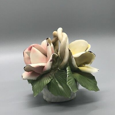 Vintage Capodimonte Italy Basket With Yellow And Pink Rose