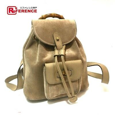 de1df90a2 GUCCI 0031998 backpack bamboo Old daypack suede leather beige (N1103