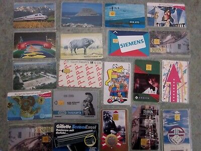 Group of 20 different Chip international Phone cards, used