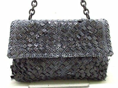 8be1a6008450 BOTTEGA VENETA handbag Small Olympia bag Navy chain handle Python (N378