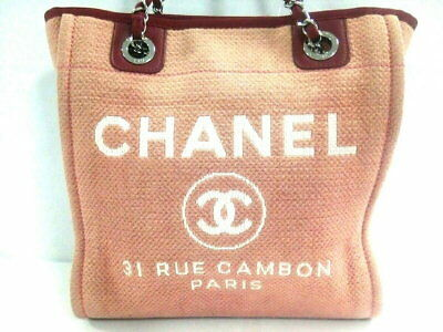 6734f5f44a4b CHANEL tote bag Deauville line PM chain shoulder bracket canvas leather  (N1802