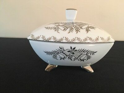 Vintage Norcrest 25th Anniversary Covered Footed Trinket Dish; B-432