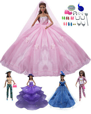 25 Pcs Barbie Doll Clothes Accessories Huge Lot Party Gown Outfits Girl Gift