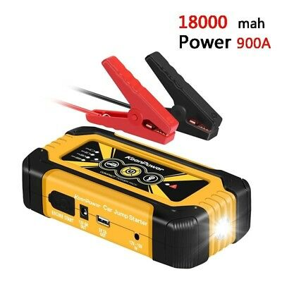 Portable Mobile Emergency Car Jump Starter 18000mAh 900A Power Bank Charger 12V