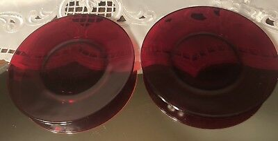 2 Vintage Royal Ruby Red Glass Anchor Hocking Bread & Butter Plates