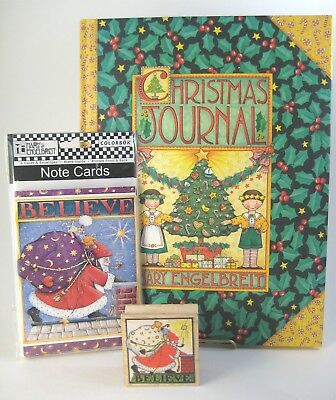 Mary Engelbreit Christmas Journal Believe Santa Claus Note Cards & Rubber Stamp
