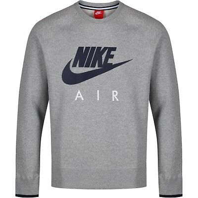 NIKE AIR AW77 Heritage Fleece Tracksuit Top Grey Crew Neck