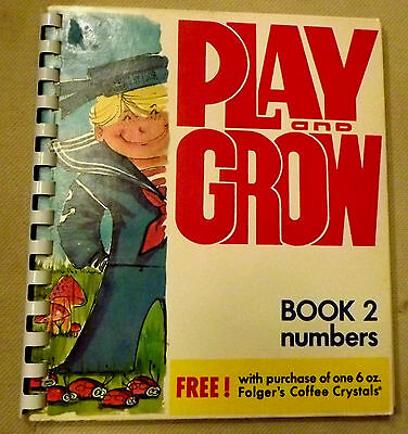 Vintage Cardboard Activity Book 1976 Folgers Coffee Play & Grow Counting Unused
