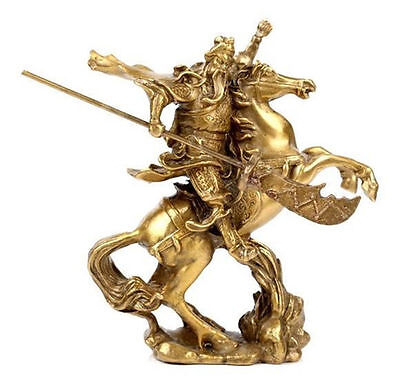 Collection Chinese Ancient Hero Guan Yu Ride on Horse Copper Statue