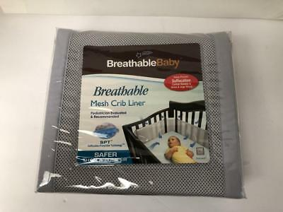 New Breathable Baby Child  Mesh Crib Liner Gray Nursery Bedding Gear Bumper