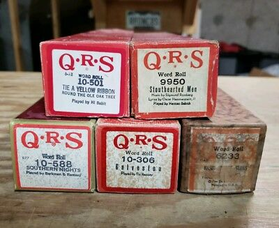 QRS Piano Player Word Roll Lot (5) Various Artist & Titles Lot 3
