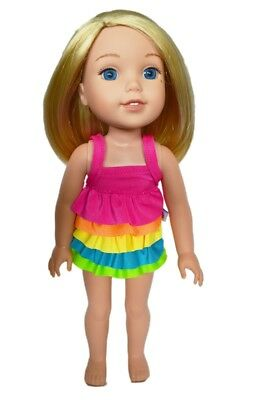 My Brittany's Frill Swimsuit for Wellie Wisher Dolls- 36cm Doll Clothes