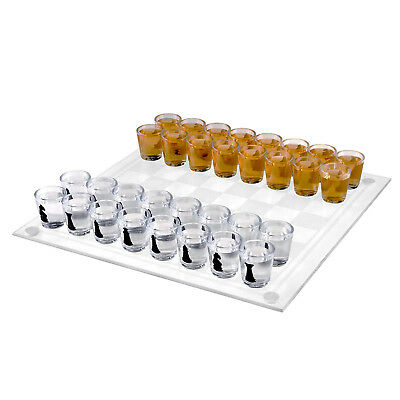 Shot Glass Chess and Checkers Game Set- 2 in 1 Drinking Game Set for Party or