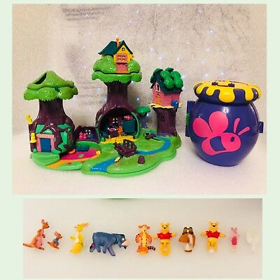 🦉Disney Polly Pocket Winnie The Pooh 100 Acre Wood & Honey Pot  Figures BUNDLE