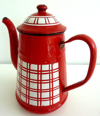 Old French coffee pot, enamelled metal, decor lustucru red and white