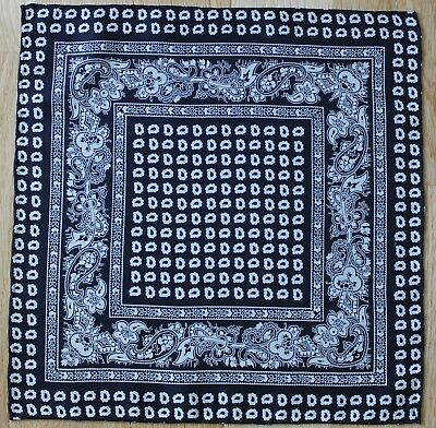 Black & white Paisley Hand printed Silk, hand rolled Pocket Square Handkerchief