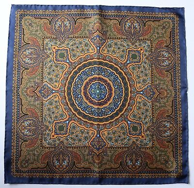 Silk Pocket square. Blue, green & old gold ornate print 42cm. Hand rolled