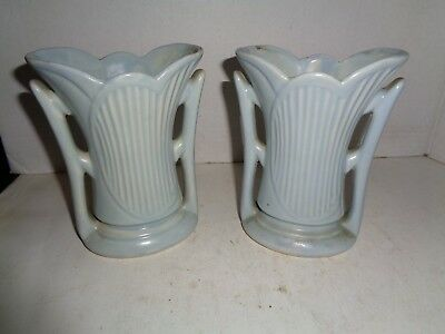 "Antique Flower Ceramic Vases, Lot Of Two Items, 6"" Tall VG+ Condition"