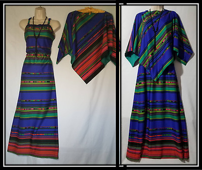 Vtg 60s 70s OOAK handmade 2 pc maxi dress matching reversible poncho XL Plus Sz