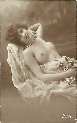 Rare original old French real photo postcard Art Deco nude study 1910s RPPC #226