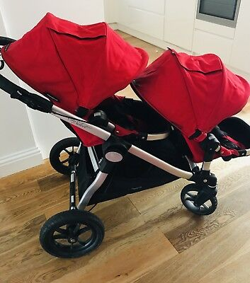 Baby Jogger City Select Double In Red Inc Baby Bassinet And Raincovers