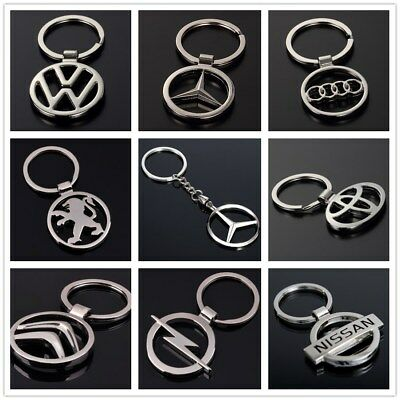 Auto 3D Hollow Out Car Logo Metal Key Chain Pendant Holder Silver Keyring