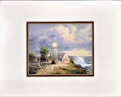 Thomas Kinkade A LIGHT IN THE STORM Matted Accent Print w/ COA