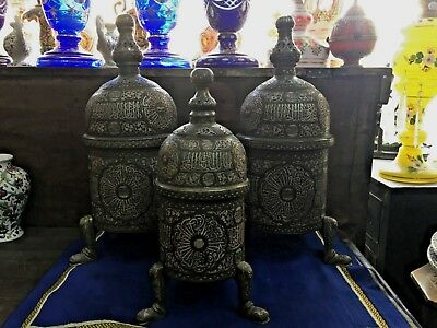 Antique Set Of 3 Incense Rare Islamic Silver Inlaid Mamluk Revival Censer Persia