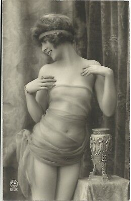 Rare original old French real photo postcard Art Deco nude study 1920s RPPC #313